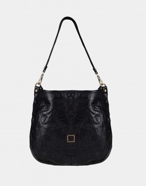 Perforated black shoulder bag