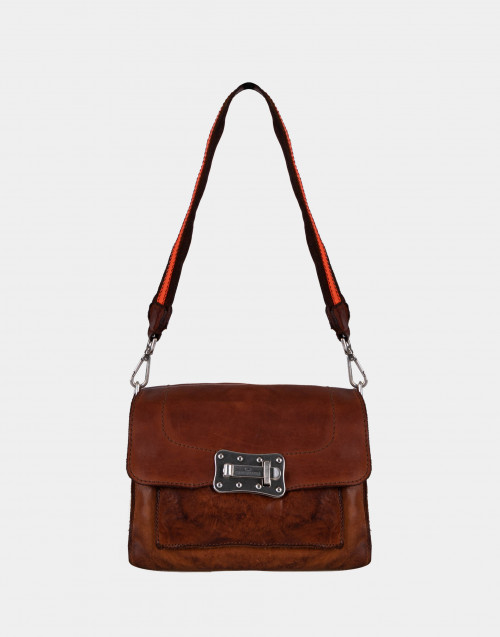 Medium leather / orange bellows bag