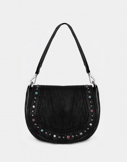 Black studded one-shoulder bag