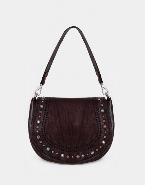 Dark brown studded one-shoulder bag