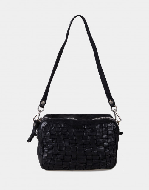 Mini black braided bowling bag