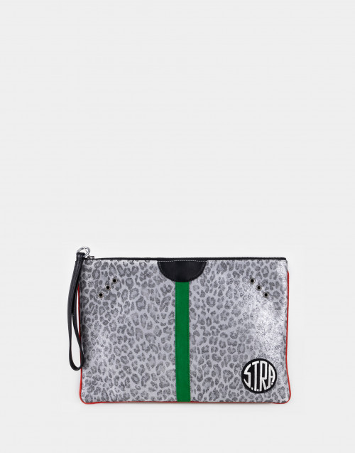 Gray spotted clutch bag