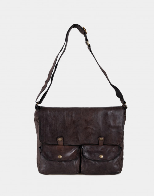 Brown canvas and leather shoulder bag