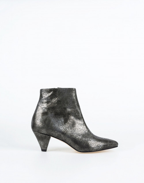 Craquelé leather silver ankle boot