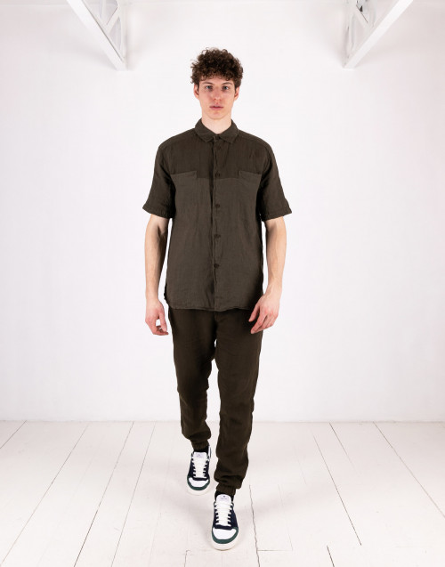 Olive-colored linen shirt