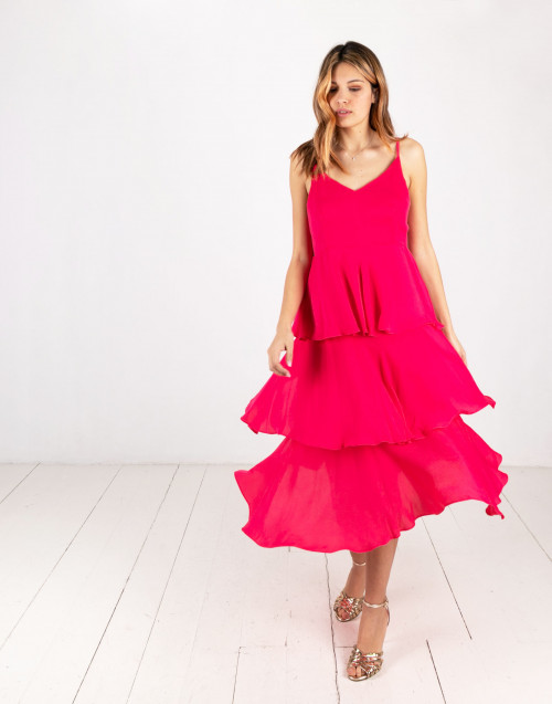 Fuchsia long Ameliè dress