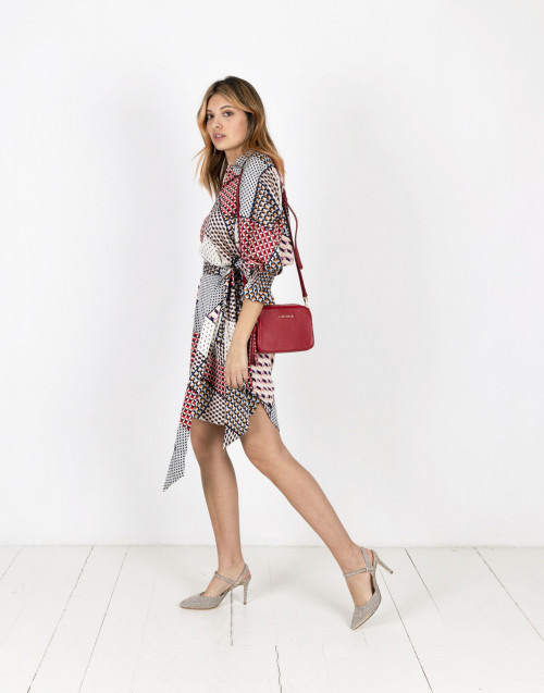 Tunic dress with foulard print