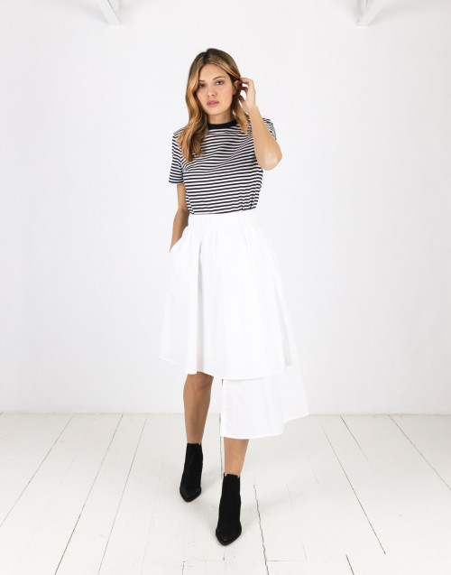 White asymmetrical Alba cotton skirt