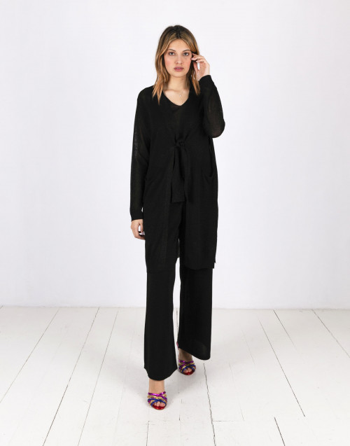 Maxi cardigan in lurex nero Charlotte