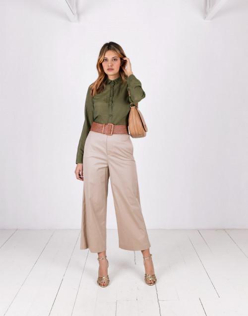 Pantalone in cotone beige