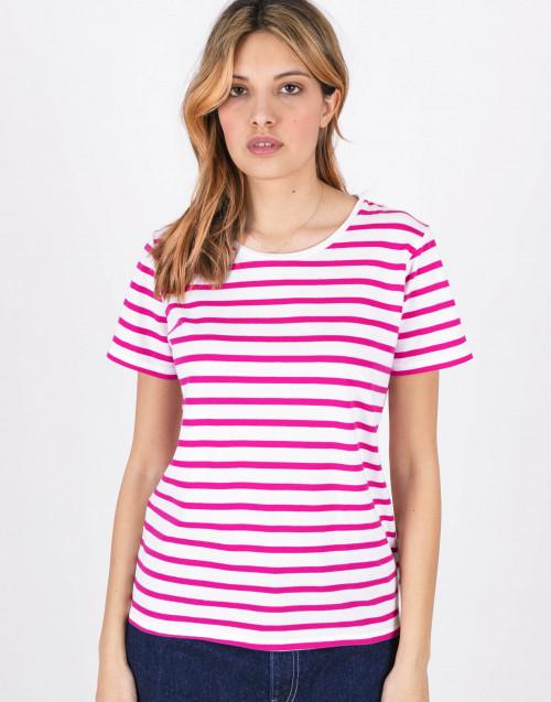 T-shirt a righe rosa