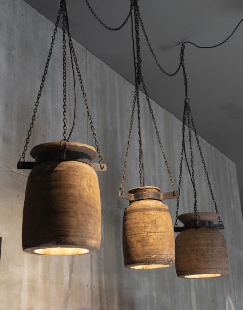 Set 3 lampade vaso in legno