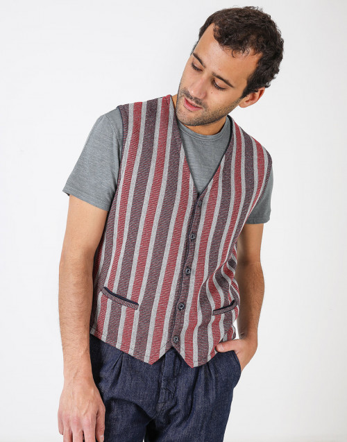 Cotton waistcoat with stripes