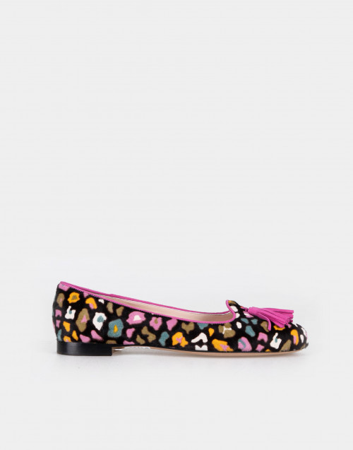 Printed multicolor calf hair flat