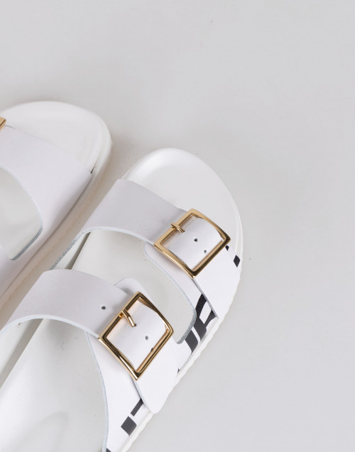 Rebeccah leather white slippers