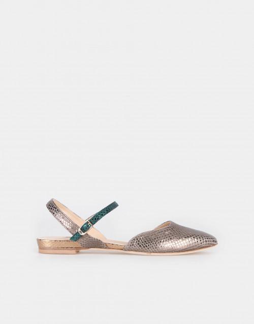 Sandalo basso laminato stampa serpente