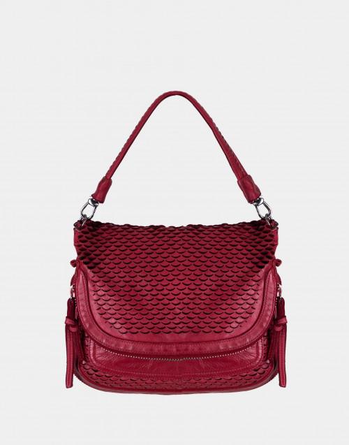 Red squama effect shoulder bag