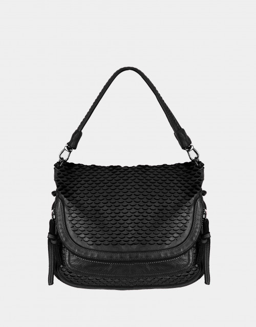 Black squama effect shoulder bag