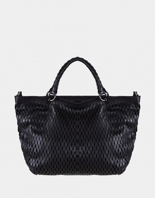 Borsa shopper in pelle nera