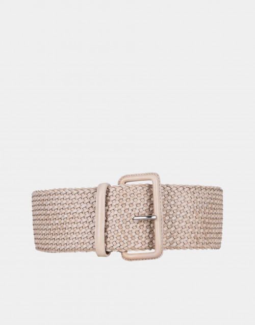 Braided flesh-colored leather belt