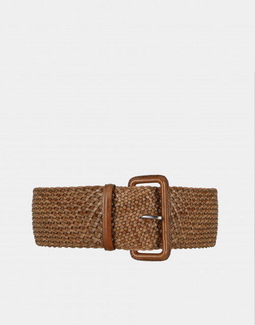 Braided brown leather belt