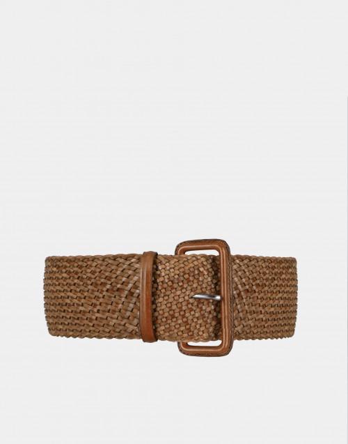 Cintura pelle intrecciata color cuoio