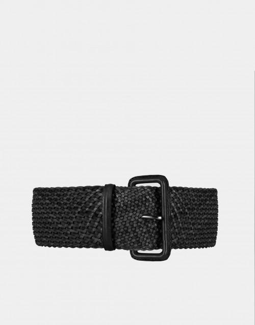 Cintura pelle intrecciata nera