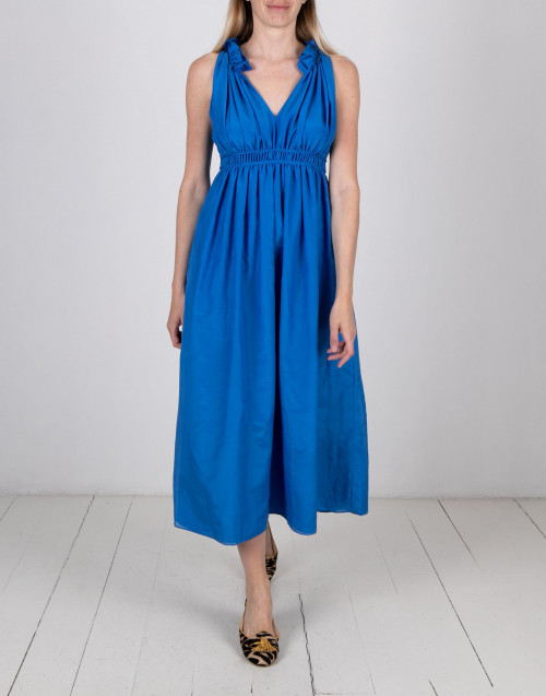 Blue cotton long dress