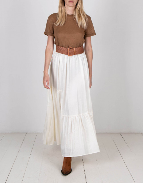 White silk long skirt
