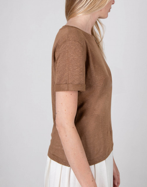 Tobacco color linen t-shirt