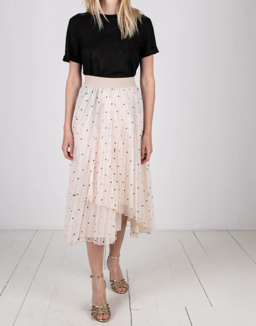 Nude color tulle skirt with polka dots