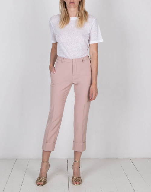 Pink cigarette leg trousers