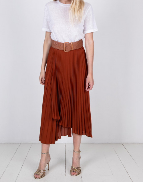 Tobacco color pleated skirt
