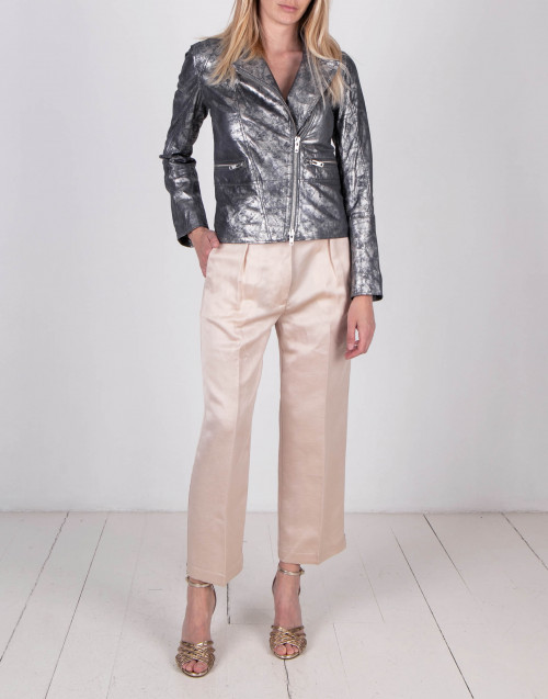 Lam silver leather biker jacket
