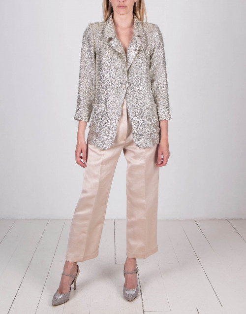 Platinum color sequin blazer