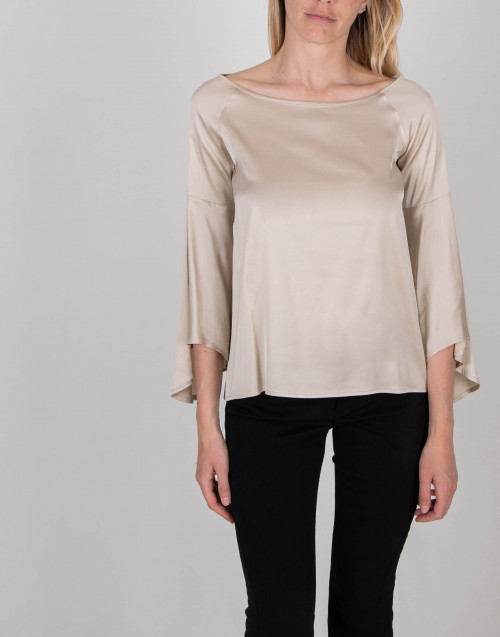 Champagne color silk effect blouse