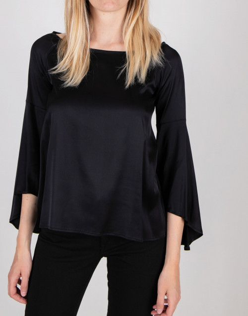 Black silk effect blouse