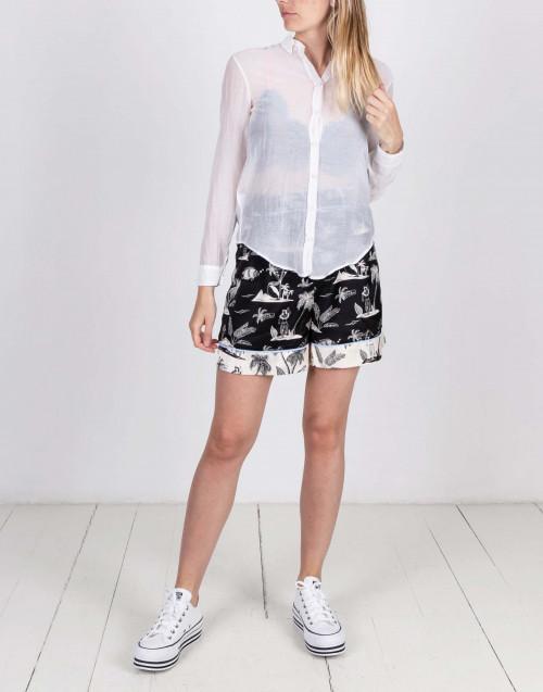 Camicia in cotone e seta bianca