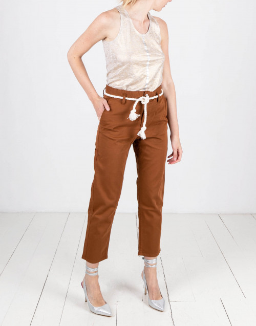 Tobacco color cotton trousers