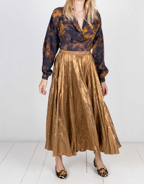 Bronze laminated long skirt