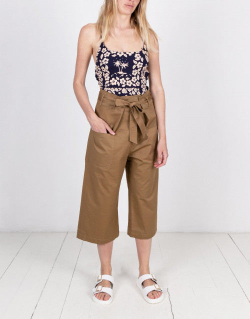 Brown wide leg cotton culotte trousers