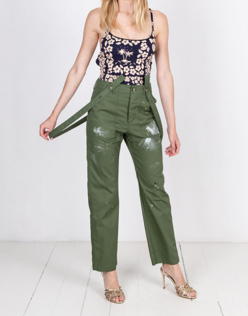 Military green trousers with braces