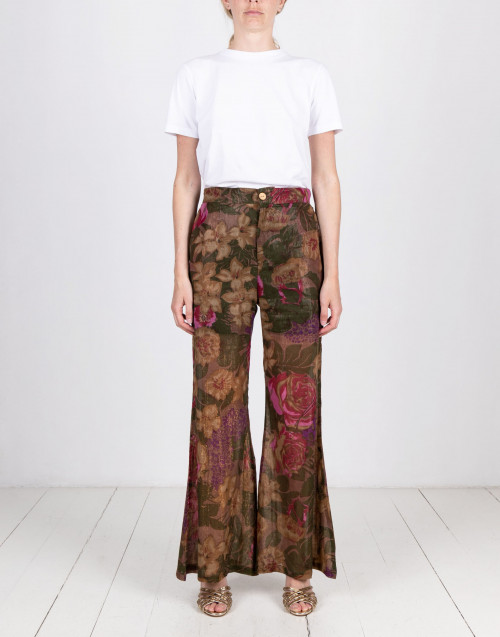Floral lurex trousers
