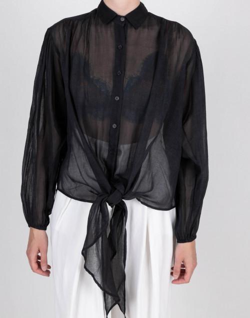 Camicia semitrasparente nera
