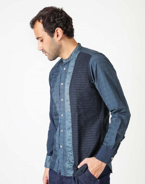 Camicia in cotone con collo coreana