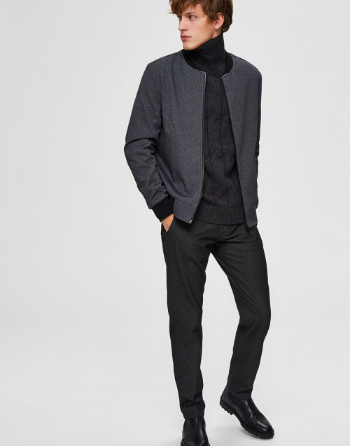 Anthracite slim fit trousers