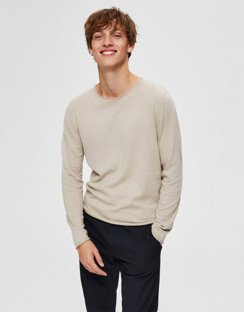 Cotton and silk beige sweater