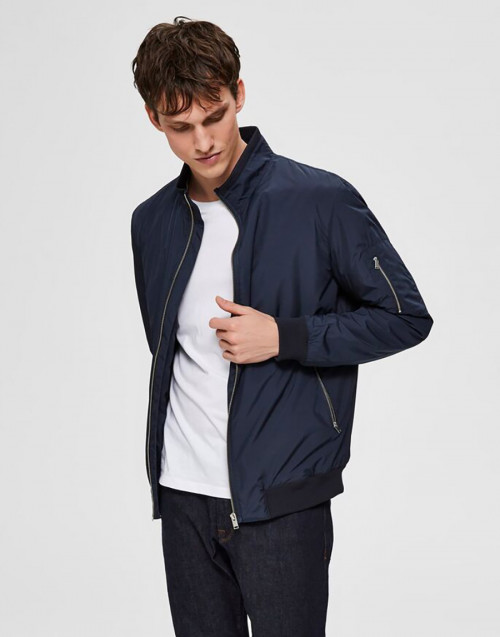 Blue nylon bomber jacket