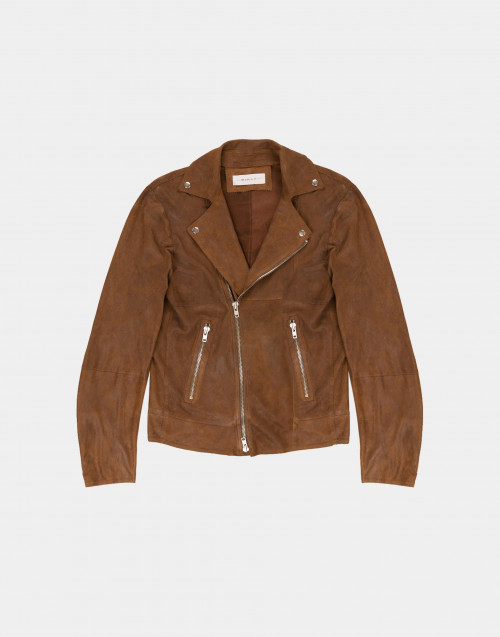Tobacco color leather biker jacket
