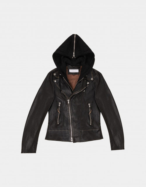 Black leather biker jacket with hood